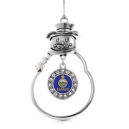 - Inspired Silver - Kansas Flag Charm Ornament - Silver Circle Charm Snowman Ornament with Cubic Zirconia Jewelry