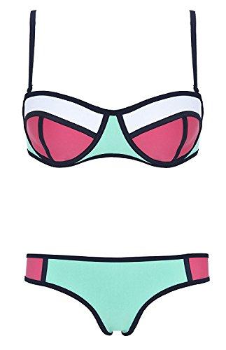 MN65G3DF2 Attractive Fashion Women's Color Structured Neoprene Wet Suit Bikini (M (US4-6), - Wetsuit Miami