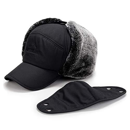Fur Earflap Adjustable Winter Aviator Hats Men Women Faux Fur Hunting Russian Cap with Mask