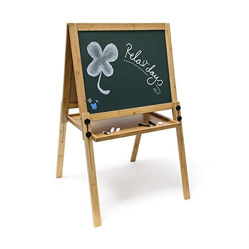 Relaxdays Kindertafel köhenverstellbar H x B x T: ca. 93 x 56.5 x 56.5 cm magnetische Kreidetafel in grün als Spieltafel für Schreibübungen als praktisches Geschenk für Kinder für in der Schule, grün