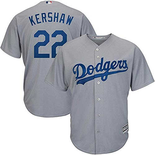 (Clayton Kershaw Los Angeles Dodgers MLB Majestic Youth Gray Road Cool Base Replica Jersey (Youth Large 14-16))
