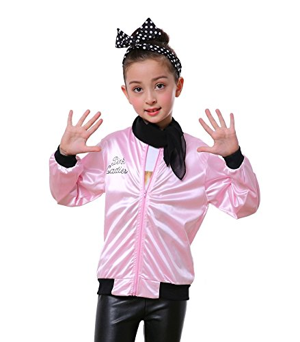 Child Pink Ladies 50's Satin Varsity Jacket Grease Costume (Pink, 8-9 -