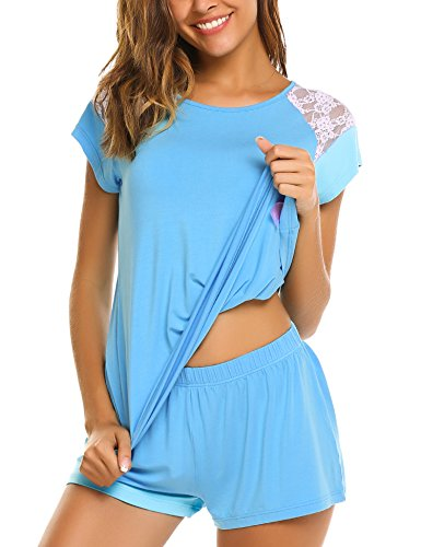Summer Pajamas Shorts (Avidlove Womens Modal Pajama Sets Comfy Sleepwear/Tank Top and Short PJ(M,Blue))