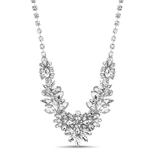 Steve Madden Silver-Tone Flower Cluster Design Bib Statement Rhinestone Necklace for Women