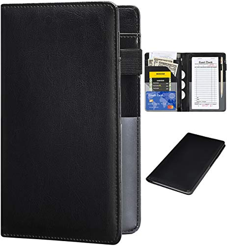 Server Books for Waitress – R64 Leather Waiter Book Server Wallet with Zipper Pocket, Cute Waitress Book&Waitstaff Organizer with Money Pocket Fit Server Apron(Classic Black) – The Super Cheap