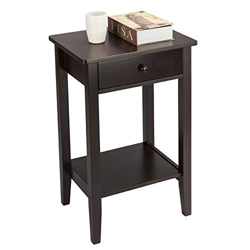 SSLine Tall Wood Nightstand 2-Tier Chairside End Table with Drawer and Shelf Espresso Finish Regalia Bedside Accent Table Living Room Bedroom Sofa Side Telephone Table - 27.5 Inch