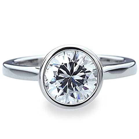 Platinum Plated Sterling Silver 2ct Round CZ Bezel Set Solitaire Wedding Engagement Ring ( Size 5 to 9 ), - Sterling Silver Engagement Plated Ring