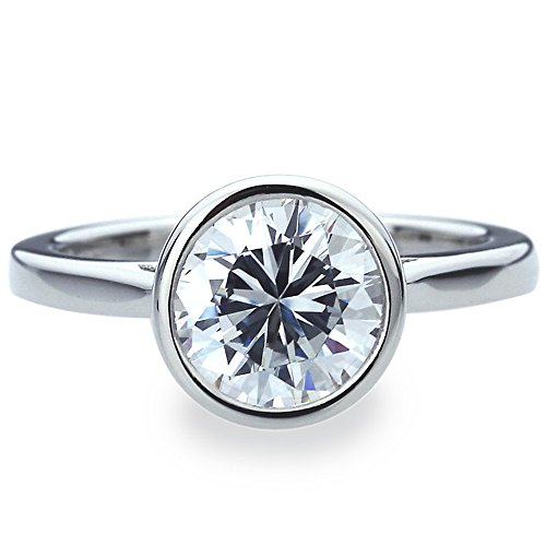 Platinum Plated Sterling Silver 2ct Round CZ Bezel Set Solitaire Wedding Engagement Ring ( Size 5 to 9 ), 5