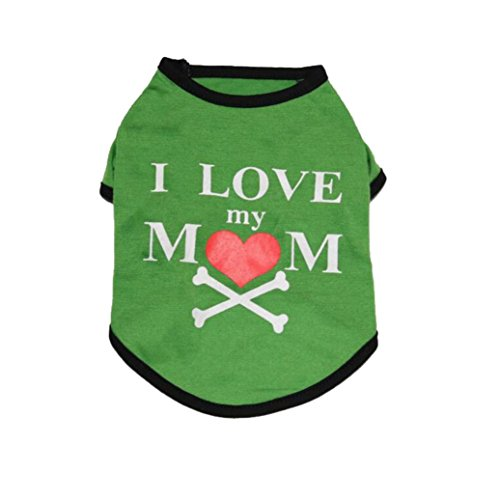 Axchongery Dog Shirt, Summer Pet I Love My Mom Costume Cool Puppy Apparel Small Dog Clothes (Green, (Good Costumes For Moms)
