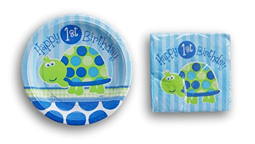 Happy First Birthday Boy Turtle Pattern - Cake Plates and Beverage Napkins