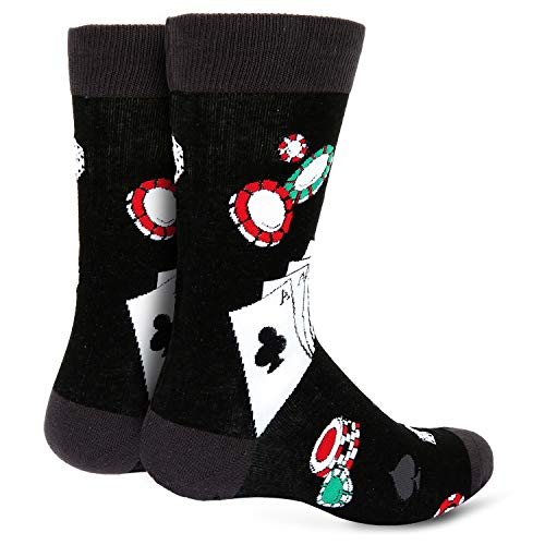 Novelty Funny Crazy Funky Socks, Poker Card Dice Gaming Casual Crew Socks for Men - http://coolthings.us
