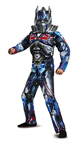 Boy Transformer Costume (Disguise Optimus Prime Movie Classic Muscle Costume, Blue, Medium (7-8))