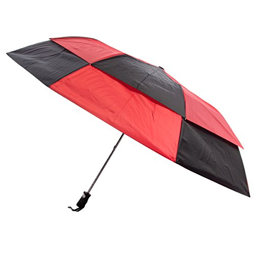 Totes 25-Ounce Stormbeater, Automatic Double Vented Folding Umbrella, 56-inch Canopy, Black and Red, 1-pack by totes