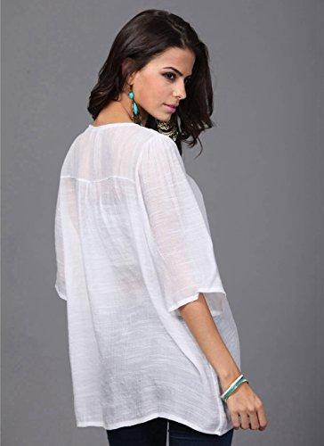 Ferand - Vestido Túnica Mujer Corto con Cuello Embellecido, Tops Elegante con Mangas a 3, Talla única (de M - 3XL) Blanco