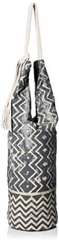 'ale By Alessandra Women's Paz Block Print Cotton Tote With Suede Handle And Tassel Blue One Size Ale By Alessandra Womens Accessories
