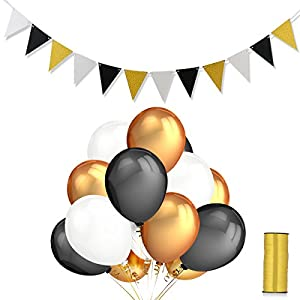 Home Kitty 50 Pcs 12 inch Ultra Thickness Gold & Black & White Latex Balloons with a Roll Balloon Ribbon and Vintage Triangle Flags Banner for Wedding Birthday Party Decorations