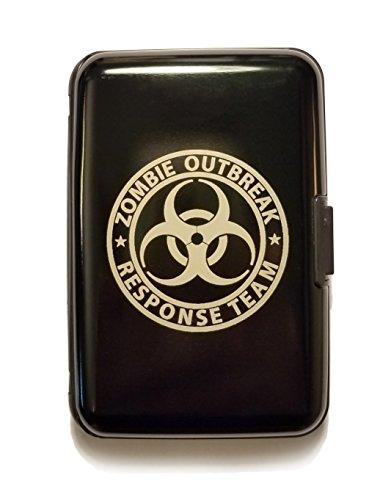 Zombie Outbreak Response Team Hazard Sign - Black Aluminum Hard Credit Card Wallet