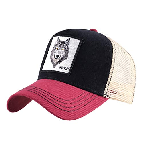 Unisex Animal Mesh Trucker Hat Strapback Square Patch Baseball Caps (One Size, Red Black Wolf)