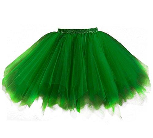 Green Adult Tutu (Kileyi Womens Tutu Costume Adult Tulle Skirt Short 1950s Vintage Fluffy Petticoat Green S)