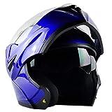 ILM 10 Colors Motorcycle Flip up Modular Helmet DOT (XL, Blue)