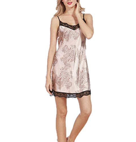 Hueco Spaghetti Encaje Dormir Mujer Splice Camisón Pijamas Modernas Estampadas Tirantes Vestido cuello Casual De V Camison Sin Mangas Beige qqYwRf