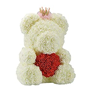 SODIAL 40Cm Teddy Bear with Crown in Gift Box Bear of Roses Artificial Flower New Year Gifts for Women Valentines Gift Milky White 25