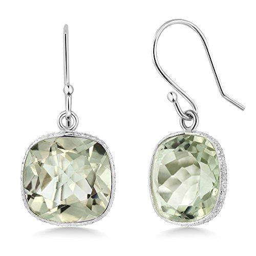 Gem Stone King Sterling Silver Green Amethyst Women s Dangle Earrings 10.00 cttw, 11MM Cushion Checkerboard