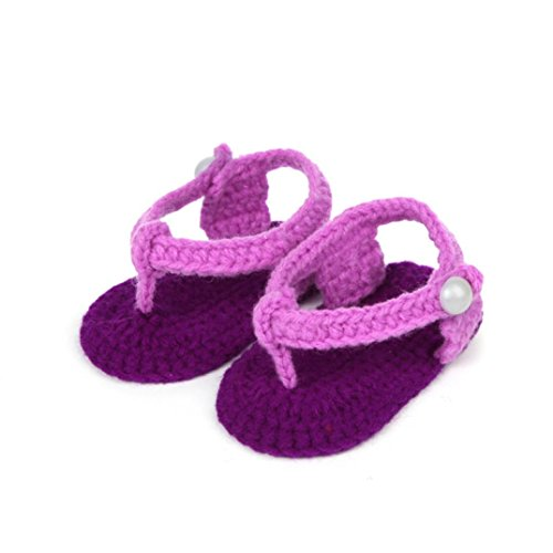 Baby Shoes, Efaster Crib Crochet Casual Baby Girls Handmade Knit Sock Clip Shoes (Style D)