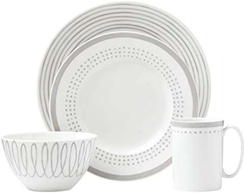 Amazon Com Kate Spade New York Charlotte Street East Grey 4pc Place Setting White Dessert Plates