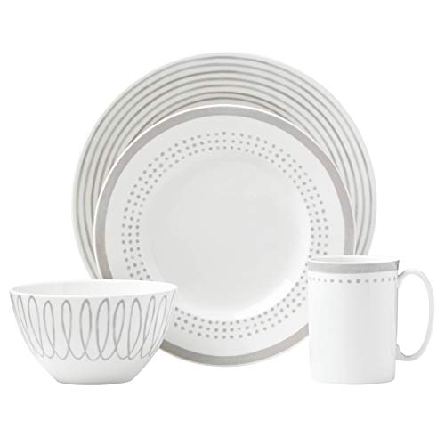 (Kate Spade New York (867918) Charlotte Street East Grey 4pc Place Setting, White)