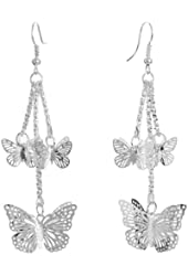 Yazilind Jewelry Christmas On Sale! Butterfly Cute Silver Plated Alloy Dangle Earrings Vintage for Women Gift Idea