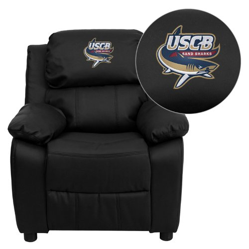 Flash Furniture South Carolina Beaufort Sand Sharks Embroidered Black Leather Kids Recliner with Storage Arms