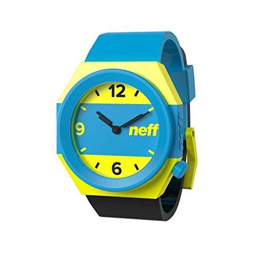 Neff Mens Wrist Watch w/Silicone Strap (Striped Cyan, Yellow & Black)