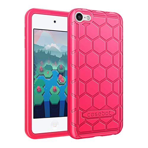 Fintie Silicone Case for iPod Touch 7 iPod Touch 6 iPod Touch 5 - (Honey Comb Series) Impact Shockproof Anti Slip Soft Protective Cover for iPod Touch 7th 6th 5th (Kids Friendly), Magenta