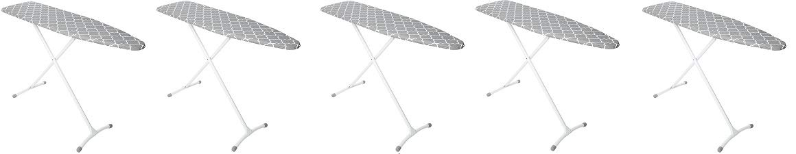 Homz Contour Steel Top Ironing Board, Grey & White Filigree Cover (5)