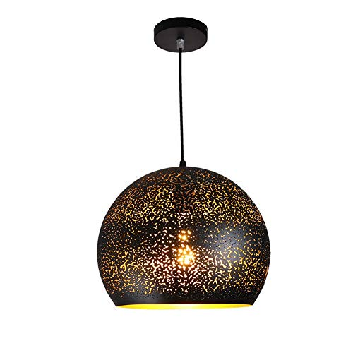 (Mini Retro Industrial Pierced Pendant Light In Lacquer Finish With Black Metal Inverted Bowl Shape Adjustable Hollow Pendant Lighting Fixture For Kitchen Island Restaurant Bar Loft E26 (Size : 8 in))