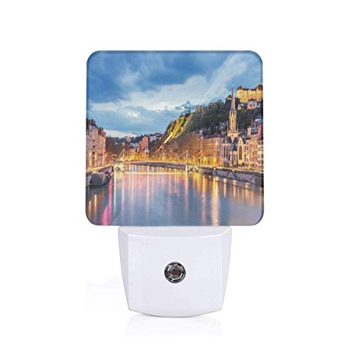 Xuforget European View of Saone River in Lyon City at Evening France Ultra Bright LED Night Light with Auto Dusk to Dawn Sensor for Bathroom Hallway