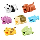 #4: Cable Bite, Aukier Animal Cable Bites Cable Protector Biters with Hedgehog / Panda / Shark / Dog / Chameleon / Tiger / Hippo Compatible with iPhone Cable Cord Chargers - 7 Pack