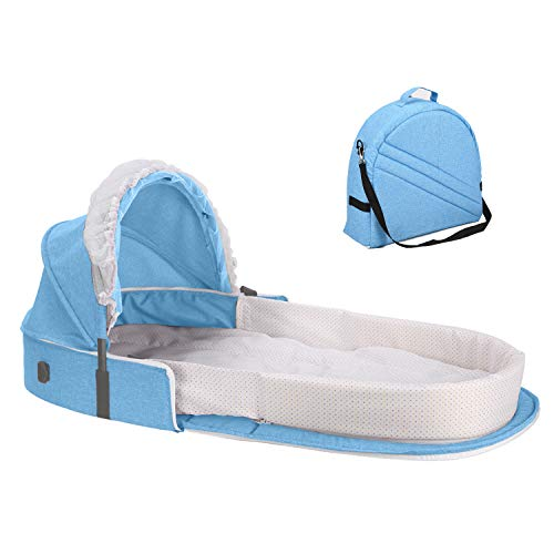Caroeas Babycare Travel Bassinet, Portable Baby Travel Bed for 0-12 Months Infants, Padded Soft Infant Sleeper with Canopy and Netting, Travel Crib Baby Carrycot ...