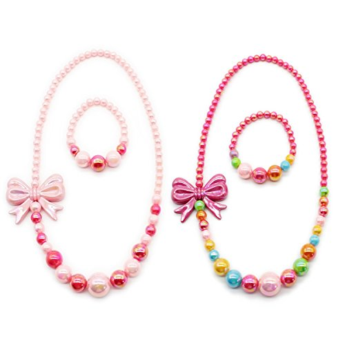LightOnIt Girls Jewelry Kids Little Girls Toddlers – Multi Color Beads RainBow Stretch Necklace Bracelet Set - Great Costume Jewelry Accessories To Play Pretend Dress Up