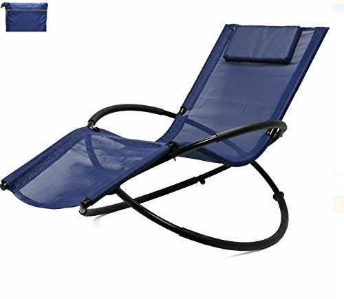 Zero Gravity Chair Navy Blue Patio Lounge Chairs Outside Folding | Ergonomic With Removable Headrest Reclining Fold Indoor Outdoor Garden Pool Beach | Unique Design Weight Limit 250 Lbs (Indoor Outdoor Furniture Lowes)