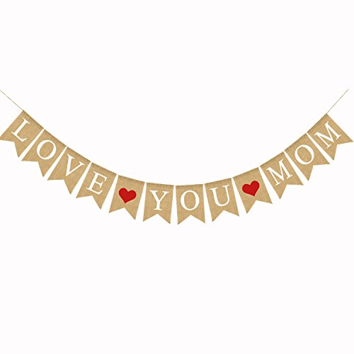 Jute Burlap Happy Mother's Day Mother's Birthday Love You Mom Banner Party -