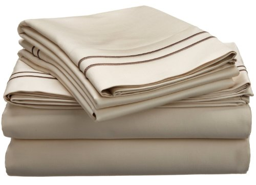 800 Thread Count, 100% Egyptian Cotton, Single Ply, Deep Pocket Sheet Set, Queen, Ivory with Taupe Embroidery