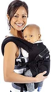 Mo+m Ergonomic Baby Carrier (Black) - Soft Structured Sling w/ Mesh Cooling Vent, Hood & Pockets