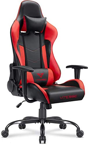 Vitesse Gaming Chair (Sillas Gaming) Ergonomic Computer Desk Chair Racing Style Comfortable Chair High Back Swivel Executive Leather Chair with Lumbar Support and Headrest (Red)