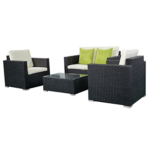 Giantex 4pc Outdoor Patio Furniture Rattan Sofa Set Wicker Sectional W Cushions Black Home