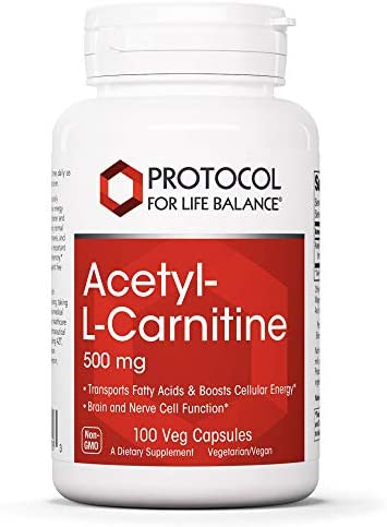 Protocol For Life Balance – Acetyl-L-Carnitine 500 mg – Helps Transport Fatty Acids, Reduce Unwanted Fat, Boosts Energy, Cognitive Brain Support, Enhances Performance and Recovery – 100 Veg Capsules