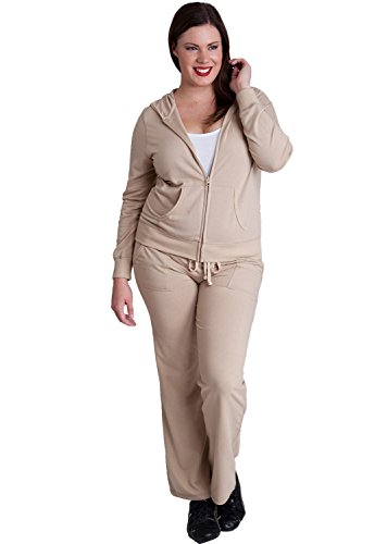 Ladies Taupe Plus Size Zip-up Hoodie & Drawstring Sweatpants Set