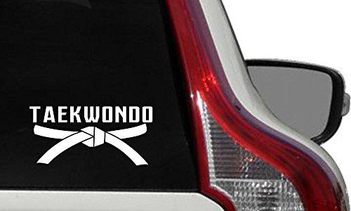Taekwondo Text Black Belt Car Vinyl Sticker Decal Bumper Sticker for Auto Cars Trucks Windshield Custom Walls Windows Ipad Macbook Laptop Home and More (WHITE) ()