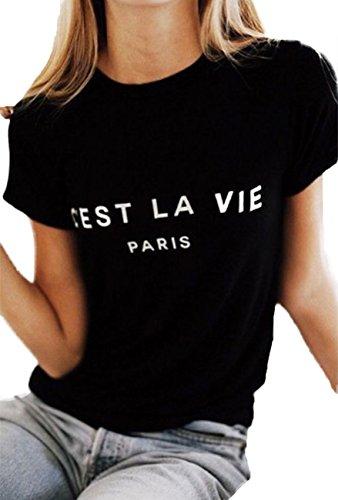 Paris T-shirt Tee - Women C'est LA Vie Paris Letter Print Tops Loose Fit Short Sleeve T-Shirt Blouse Size Medium (Black)